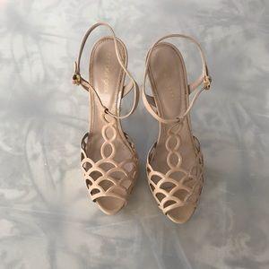 Platform nude or cream high heel sandals